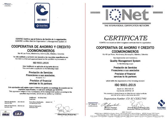 Certificación Icontec 2018